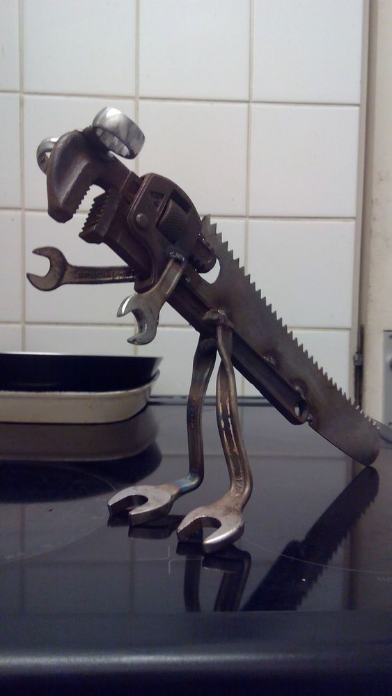 Dinosaur spanner wrench scrap metal sculpture yard art mancave workshop