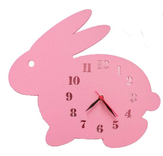 Pink wall clock, rabbit wall clock https://www.etsy.com/in-en/listing/268791364/kids-wall-clock-kids-decor-rabbit-wall