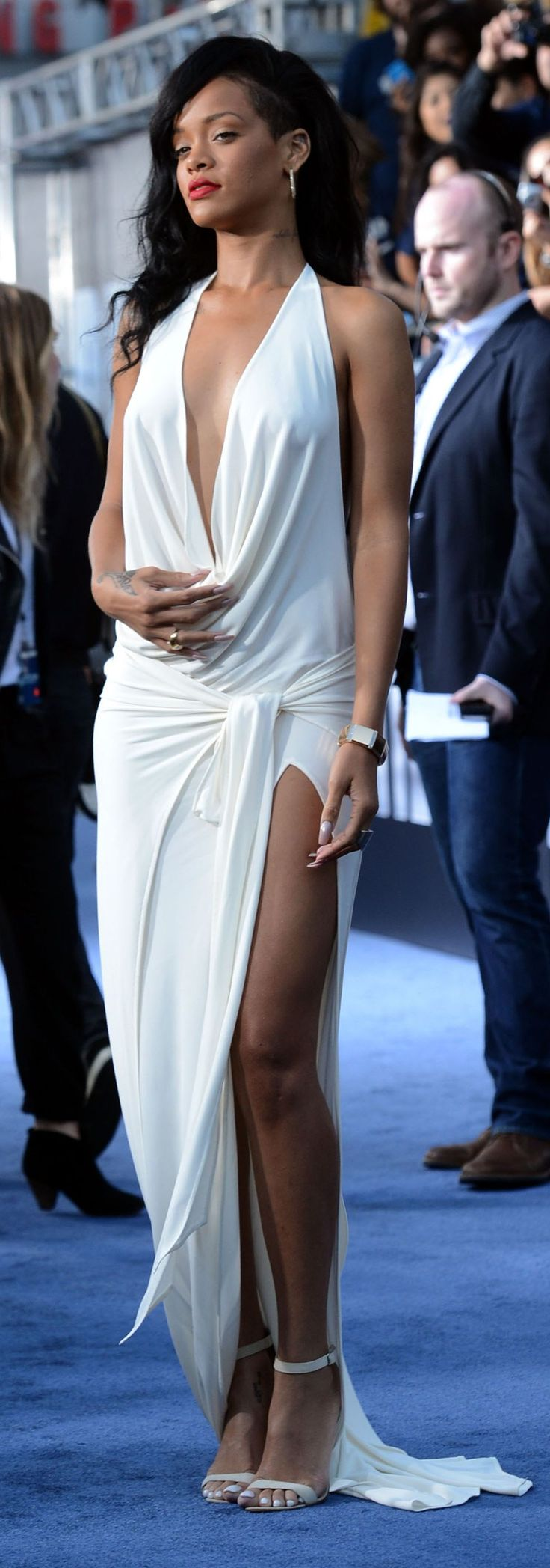 Rihanna White 'lots Of Legs Show' Maxi Dress