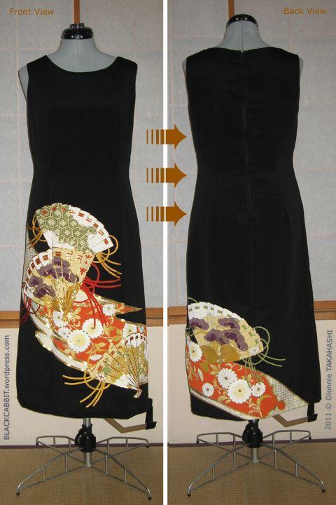 Kimono Remake upcycle Dress - Blackcabbit