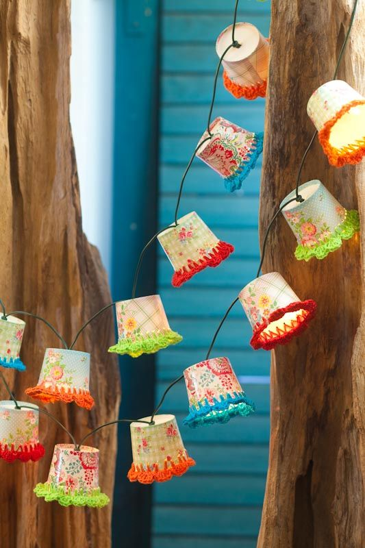 twinkle lights lamp shades - dixie cups and crochet. Great idea for garden/patio party lights.