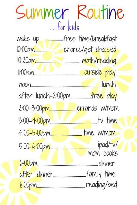 A Daily Routine for Kids Over the Summer Cameron Pinterest
