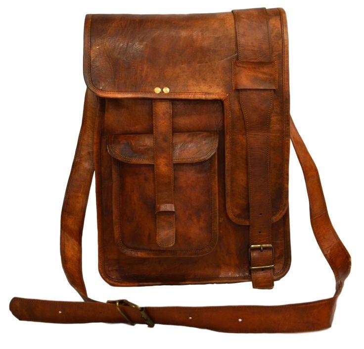 "Vintage Leather Messenger Bag for Men & Women 11"" x 15"" x 4"""