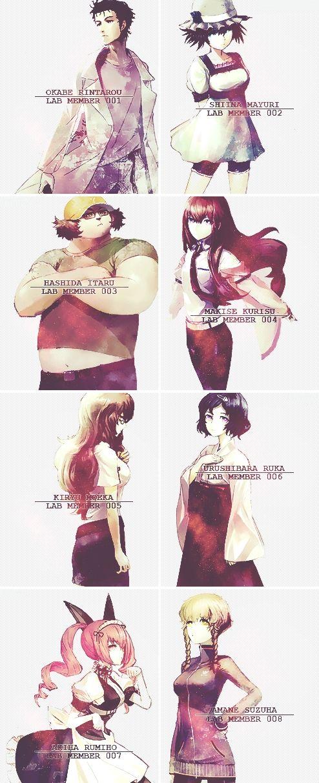 Steins;gate, Makise Kurisu, Okabe Rintarou, Shiina Mayuri, Kiryu Moeka, Urushibara Ruka, Akiha Rumiho, Amane Suzuha, Hashida Itaru