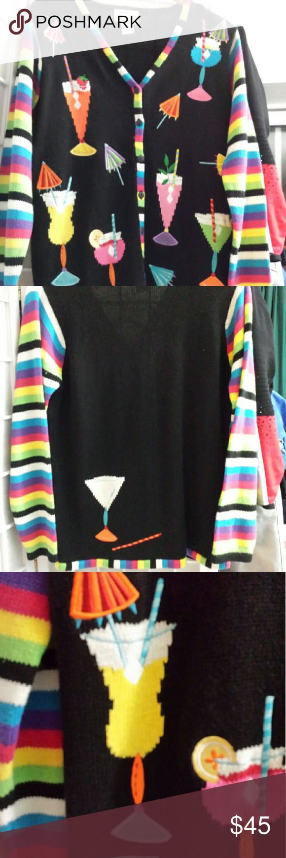 Quacker Factory Tropical Drink Sweater S Long sleeve cardigan made by Quacker Factory in size S.  Front is covered with tropical drinks, back has a cute cocktail on the lower left. All trim and Sleeves in rainbow stripes. Never worn. Quacker Factory Sweaters Cardigans