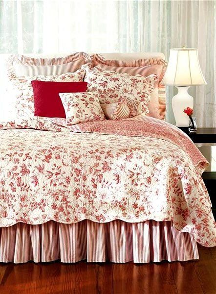 red and white bedspreads and quilts | Brighton Red Toile Quilt and Bedding - Discount Home Bedding