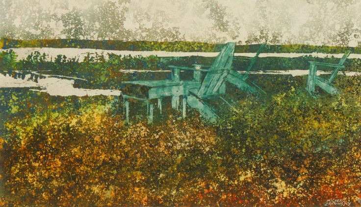 """the horizon 23 (fundy side) 16"""" x 30""""    micheal   zarowsky    watercolour on arches paper / private collection"""
