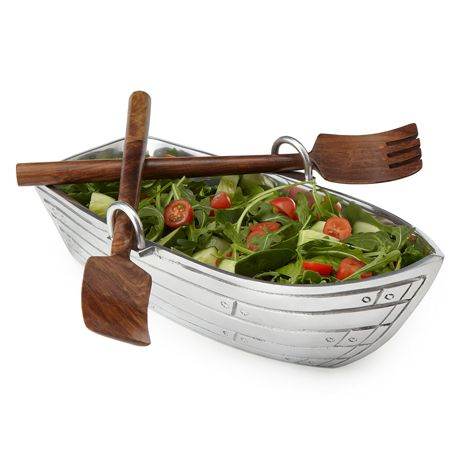 Gift Idea: Row Boat Salad Bowl with Wood Serving Utensils