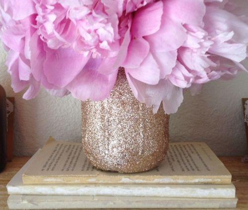 : Pink Flower, Rooms Idea, Gold Glitter, Glitter Vases, Dorm Rooms, Mason Jars, Glitter Jars, Pink Peonies, Glitter Masons Jars
