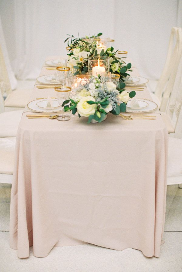 blush wedding linen