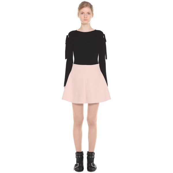 REDValentino Fitted And Flared Cotton-wool Skirt (6,050 EGP) ❤ liked on Polyvore featuring skirts, mini skirts, light pink, short mini skirts, short skirt, light pink mini skirt, flared hem skirt and short flared skirt