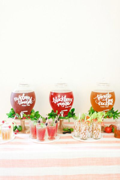 Hand lettered beverage containers: http://www.stylemepretty.com/2014/08/14/10-more-of-our-fave-wedding-diys/