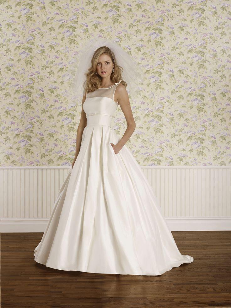 Mallary by steven birnbaum bateau neckline box pleated for Taffeta wedding dress with pockets