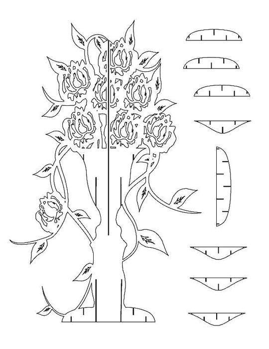Киригами открытка для начинающих с цветами, открытки