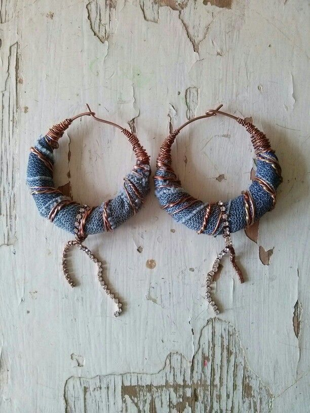 Denim earrings in my shop ArtJewerly on Etsy