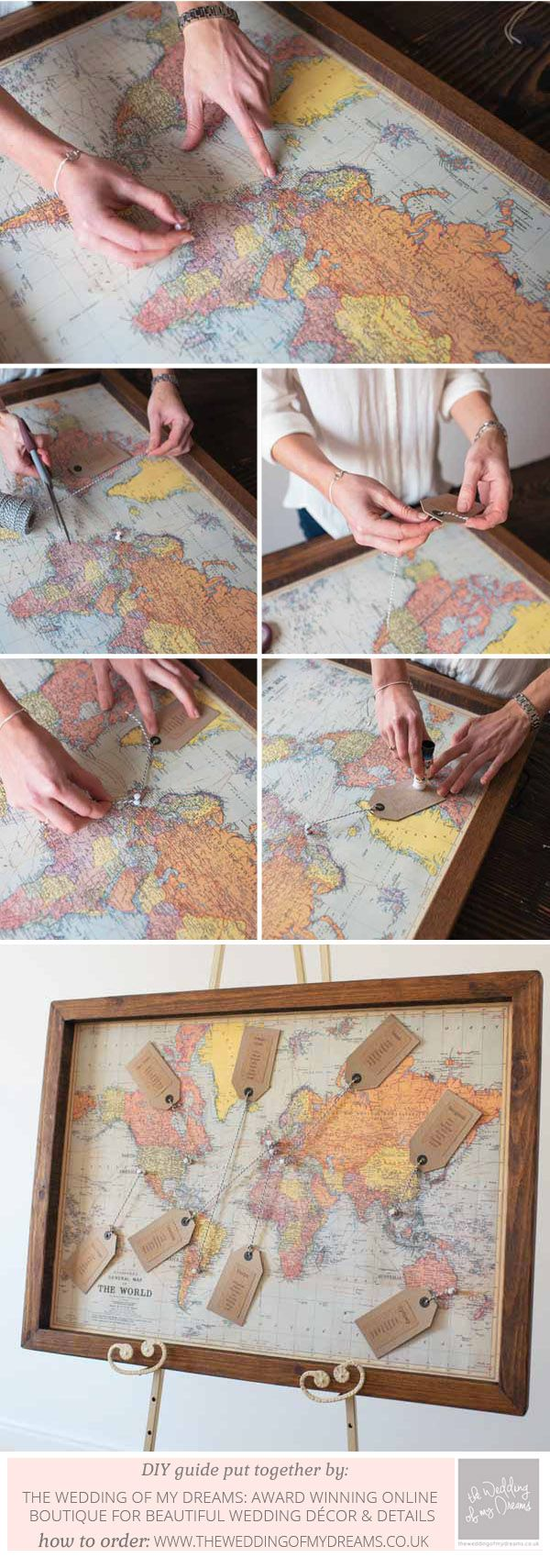 Table plan idea How To Make A World Map Wedding Table Plan