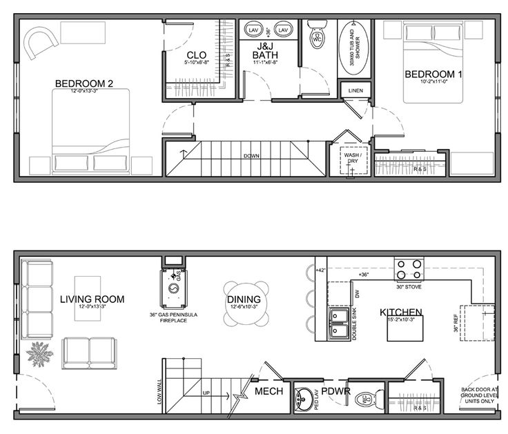 narrow 13' residential unit - kitchen's too big but i think we can modify.