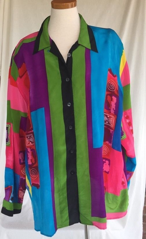 Plus 3X PIANO Brand 100% silk top shirt Blouse Bright Multi Geometric Fab #Piano #Blouse #Casual