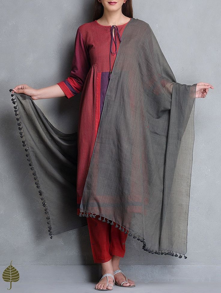 Buy Charcoal Black Tassel Detail Cotton Handloom Dupatta by Jaypore Online at…