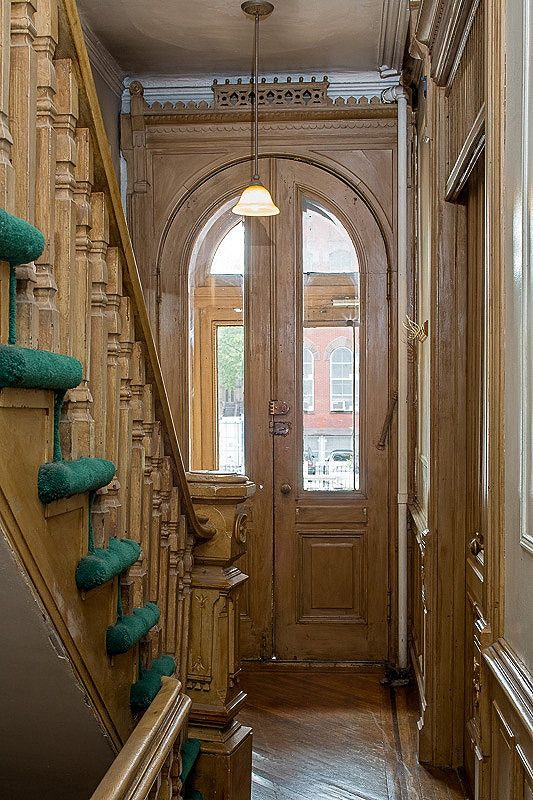 https://flic.kr/p/eUGsFo | Halsey Street Brooklyn brownstone Victorian interior foyer bannister woodwork | Photo taken from the real estate MLS