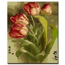 Tulip flowers picture Painting DIY Painting By Numbers Kits Acrylic Paint On Canvas Handpainted Oil Painting For Wall Artwork(China (Mainland))