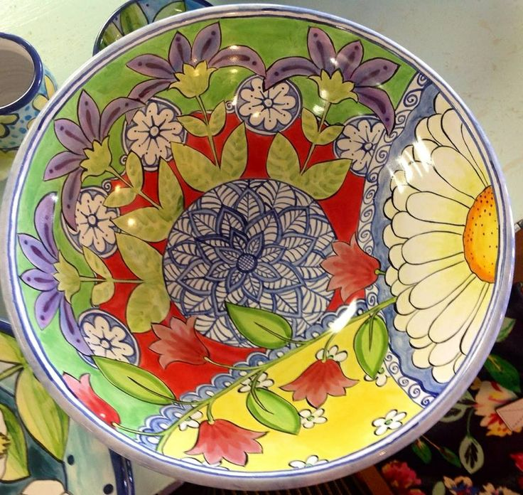 Large bowl hand painted with majolica at Damariscotta Pottery by Mary