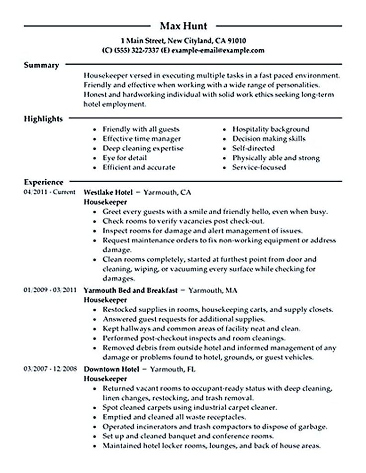 Resume Sample: HOUSEKEEPER