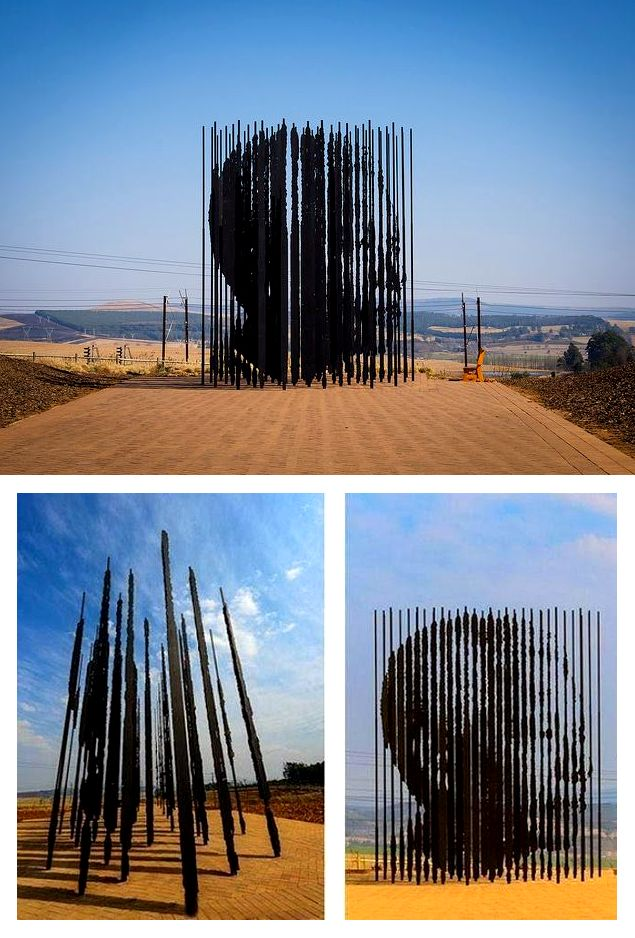 Awesome Nelson Mandela Art Installation In Howick, New Zealand!  The sculpture, by artist Marco Cianfanelli, significantly comprises 50 steel column constructions – each between 6.5 and 9.5 metres tall – set into the Midlands landscape.