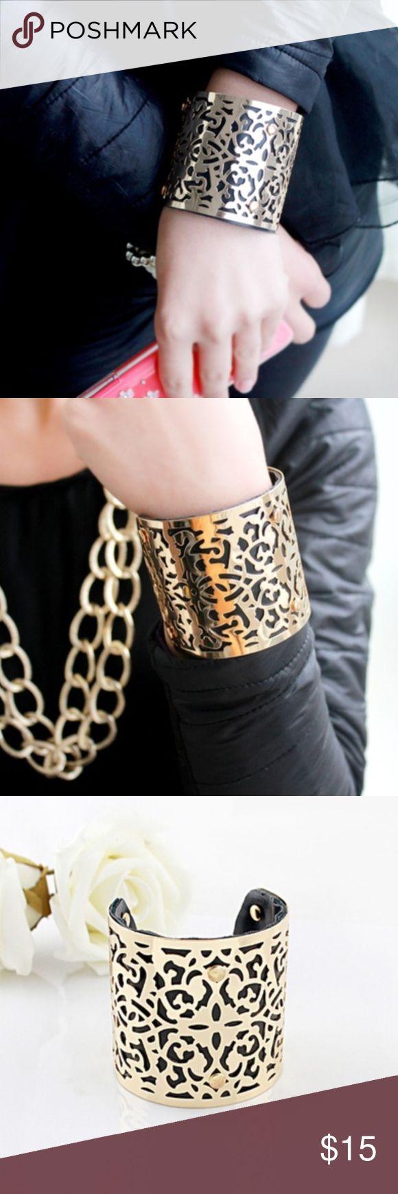 Black & Gold Cuff Bracelet Brand New black and gold laser cut cuff bracelet. Jewelry Bracelets