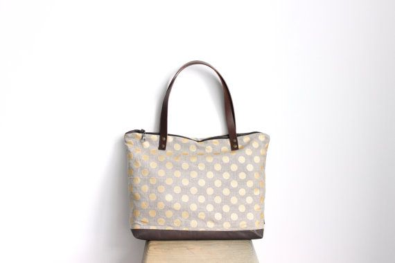 Linen and leather tote bag, Gold polka dot pattern by MUNIshop