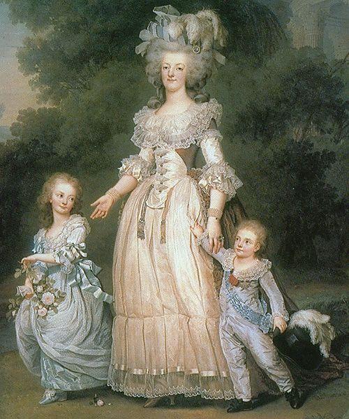 Wertmuller  1785 Marie-Antoinette avec ses deux premiers enfants Madame Royale et le Dauphin Louis Joseph
