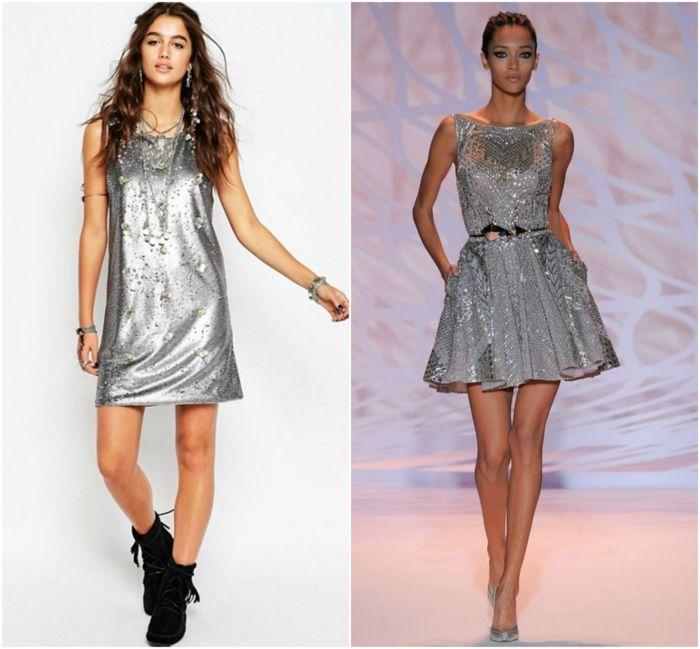 vestidos fiesta cortos, ideas en color plata, tendencias 2018, tonos metálicos, falda en campana, peinado ondulado y pelo recogido