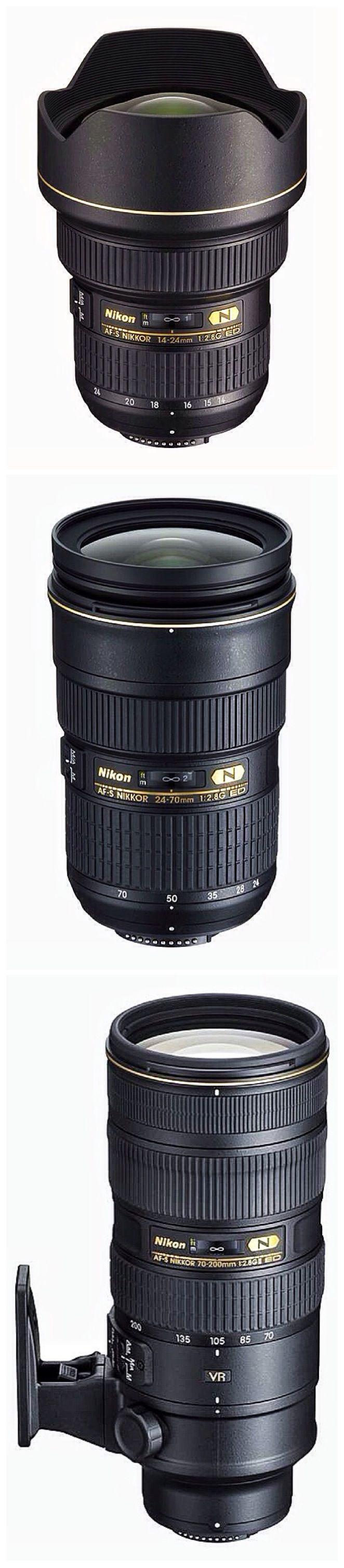 "Nikon's ""Holy Trinity"" of lenses...  Nikon 14-24mm f/2.8G ED AF-S  Nikon 24-70mm f/2.8G ED AF-S Nikon 70-200mm f/2.8G ED VR II AF-S  $6000 worth of glass"
