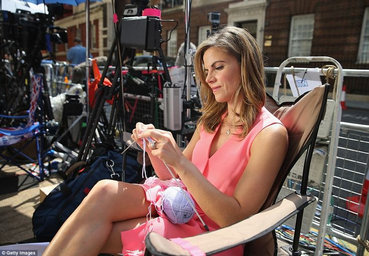 Time to kill: News Anchor with US television network NBC Natalie Morales whiles away the hours with a spot of knitting