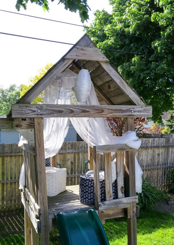 Repurposed the kids swing set into a cozy hangout now that they're teens! More