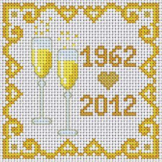 50.o aniversario de boda, tarjeta de kit de punto de cruz