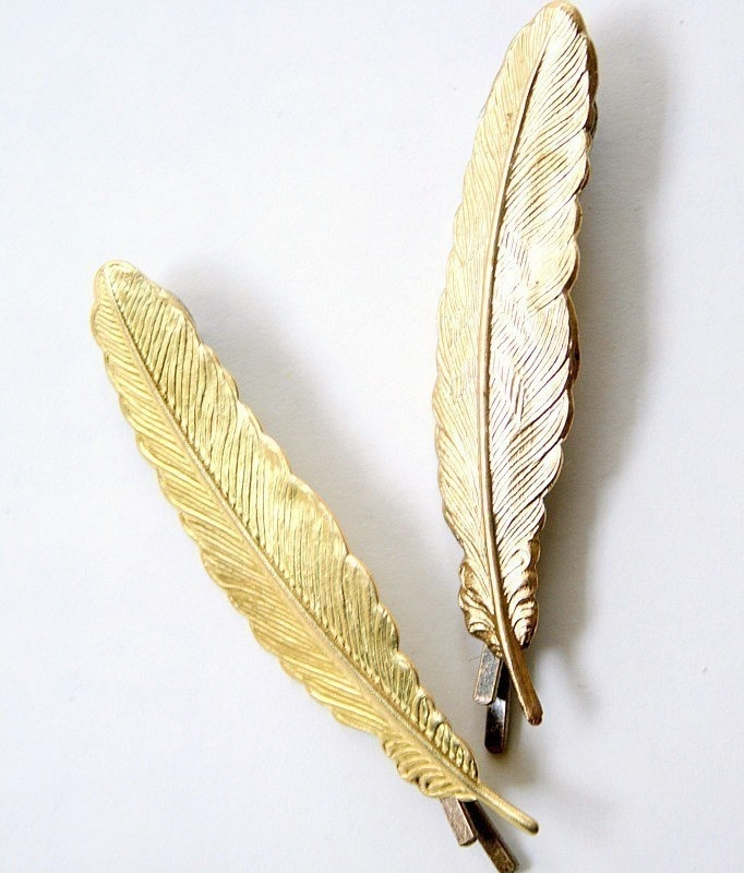 Golden Feather Bobby Pins. For Bean. #feather #hair
