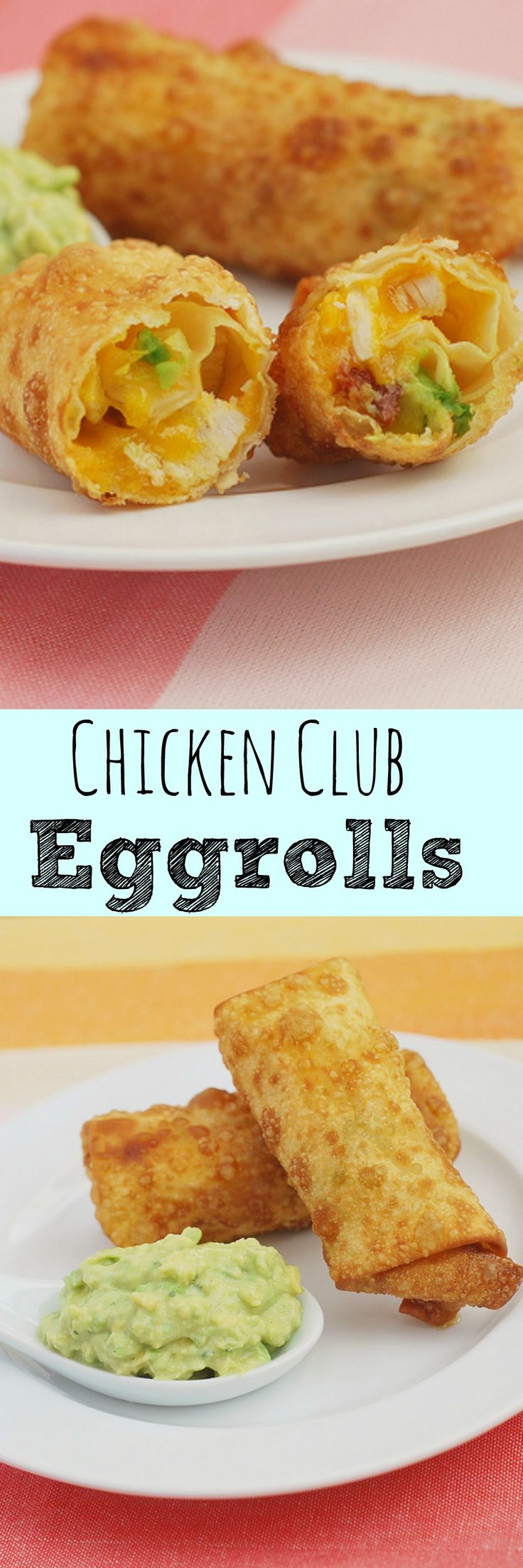 Chicken Club Eggrolls - the most delicious eggroll recipe! Filled with chicken, bacon, avocado, and cheddar cheese. Plus, an amazing avocado ranch dipping sauce!