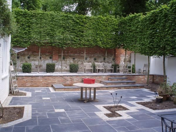 Backyard privacy trees our backyard paradise pinterest for Courtyard landscaping pictures