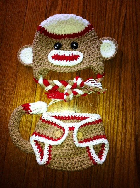 Crochet  Red Sock Monkey Hat and Diaper Cover Set Newborn Photography prop. $32.00, via Etsy.