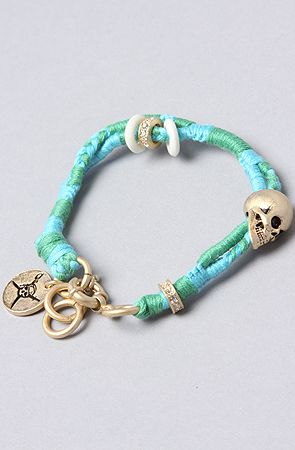 The Pirates Braided Skull Bracelet in Blue and Green Women's Jewelry By  Disney Couture Jewelry $50.00