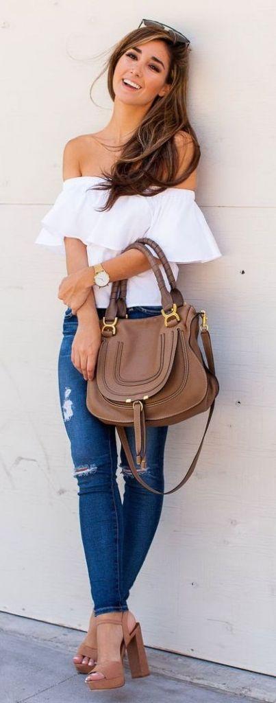 summer fashion off the shoulder denim