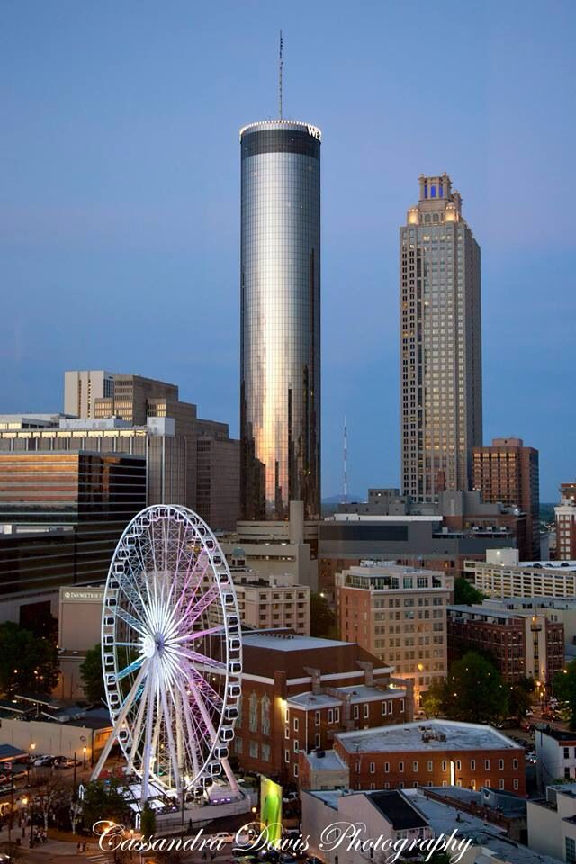 The Westin Hotel and Skyview Ferris Wheel in Atlanta, Ga #Atlanta #Georgia #Westin #WestinHotel #Skyview #ferriswheel