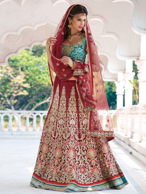Maroon Georgette Lehenga Choli with Resham Embroidery Work