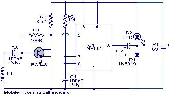 Mobile Incoming Call Indicator Circuit Diagram