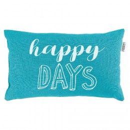 Coussin déco bleu turquoise happy days