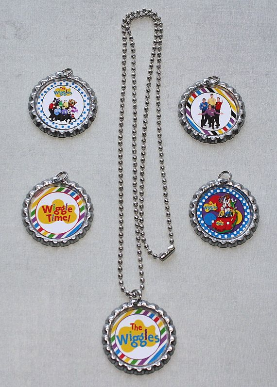The Wiggles Inspired Set of 5 Bottle Cap by PartyFavorBoutique
