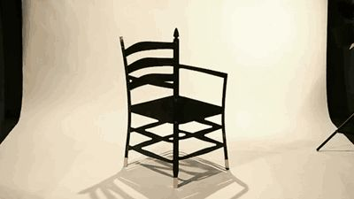 Impossible chair illusion. Impressive, it almost hurts to look at! (click through for gif)