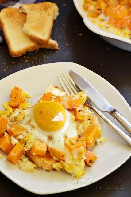 Γλυκοπατάτες με αυγά & τυρί