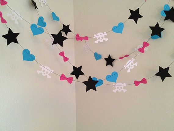 Monster High Party Decoration Paper Garland- Monster High Birthday Party Decoration- Monster High Room Decor 10ft Draculaura Frankie Stein